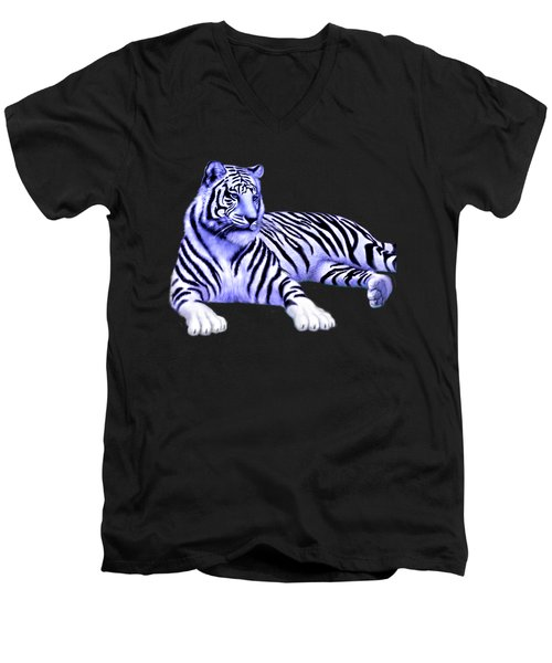 Jungle Tiger Men's V-Neck T-Shirt by Glenn Holbrook