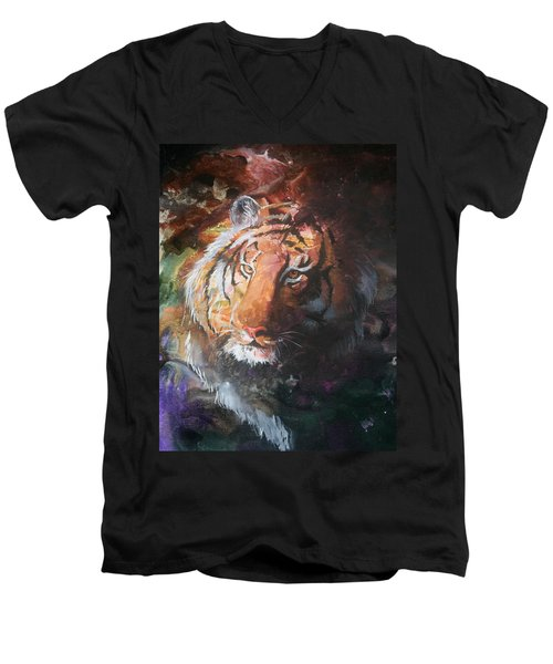 Men's V-Neck T-Shirt featuring the painting Jungle Tiger by Sherry Shipley