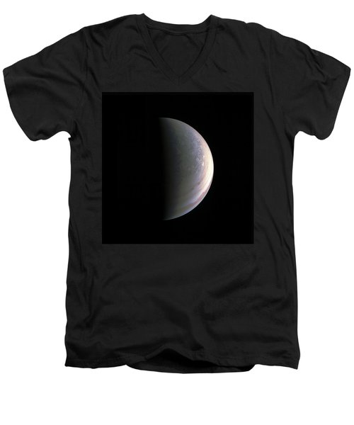 Men's V-Neck T-Shirt featuring the photograph Juno Closing In On Jupiter's North Pole by Nasa