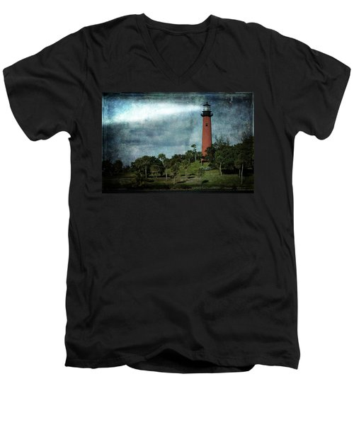 Jupiter Lighthouse-2a Men's V-Neck T-Shirt