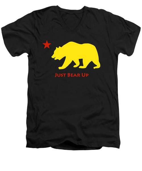 Just Bear Up Men's V-Neck T-Shirt by Jim Pavelle