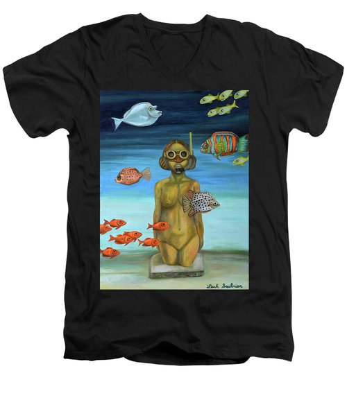Men's V-Neck T-Shirt featuring the painting Just Breathe by Leah Saulnier The Painting Maniac