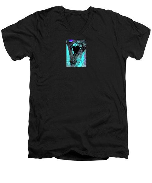 Fauve Cat And Moon Men's V-Neck T-Shirt