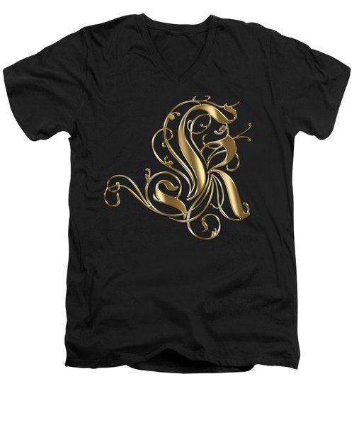 K Golden Ornamental Letter Typography Men's V-Neck T-Shirt
