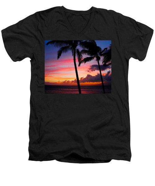 Kaanapali Sunset  Kaanapali  Maui Hawaii Men's V-Neck T-Shirt by Michael Bessler