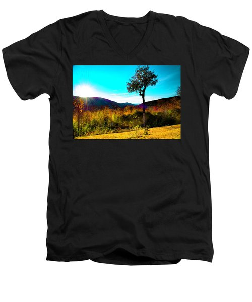 Kancamagus Sunset Men's V-Neck T-Shirt