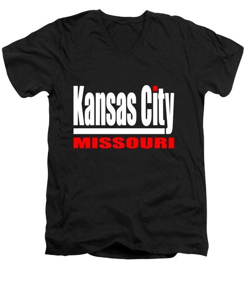 Kansas City Missouri - Tshirt Design Men's V-Neck T-Shirt by Art America Gallery Peter Potter