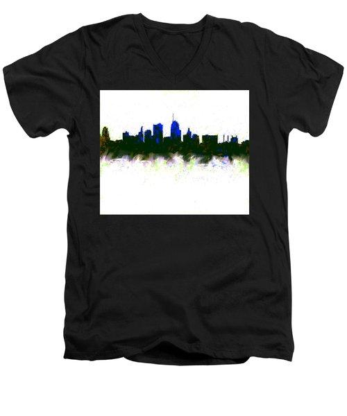 Kansas City Skyline Blue  Men's V-Neck T-Shirt by Enki Art