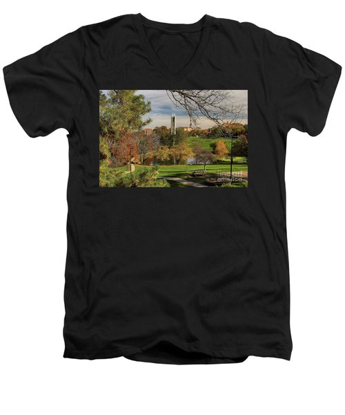 Kansas University Men's V-Neck T-Shirt by Joan Bertucci