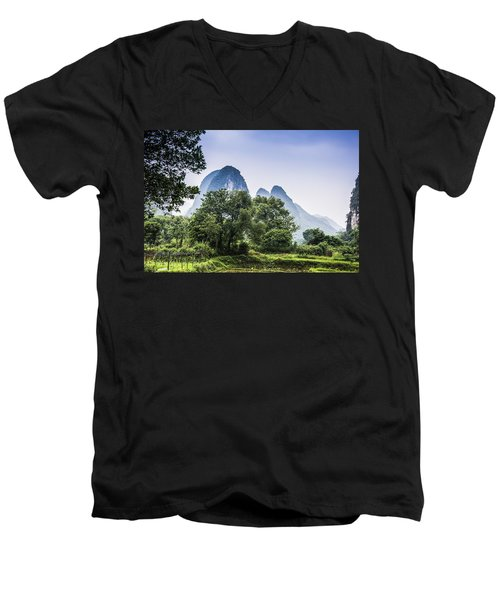 Karst Rural Scenery In Spring Men's V-Neck T-Shirt
