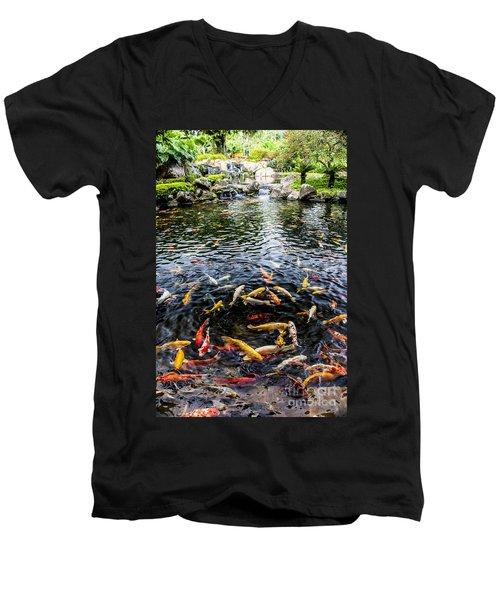 Kauai Koi Pond Men's V-Neck T-Shirt by Darcy Michaelchuk