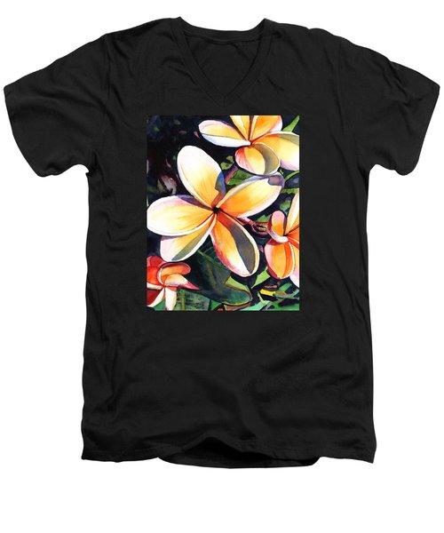 Kauai Rainbow Plumeria Men's V-Neck T-Shirt by Marionette Taboniar