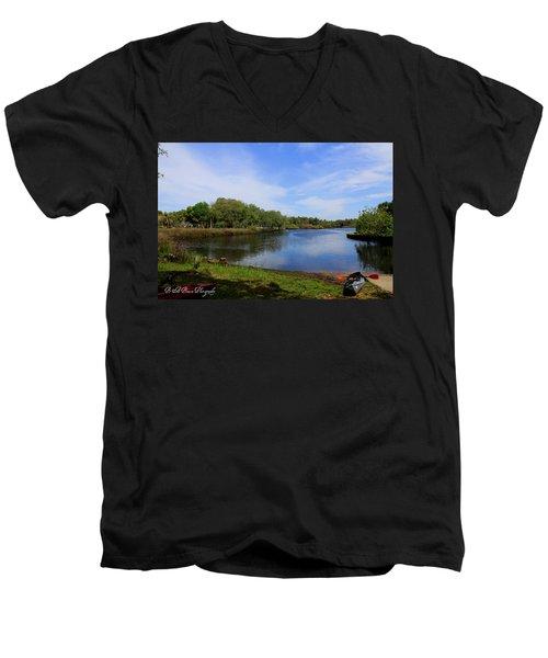 Kayaking The Cotee River Men's V-Neck T-Shirt