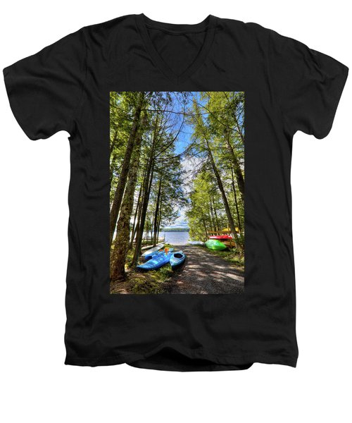 Men's V-Neck T-Shirt featuring the photograph Kayaks At Palmer Point by David Patterson