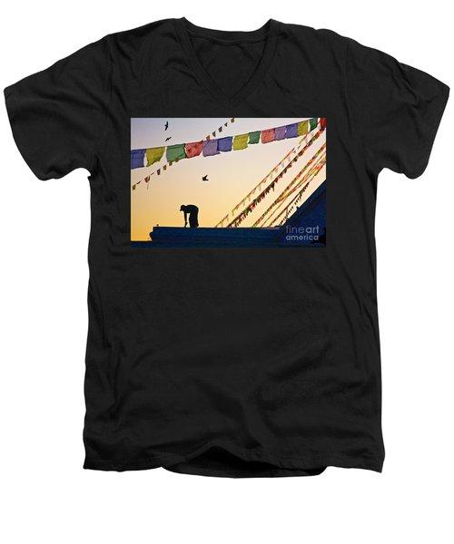 Men's V-Neck T-Shirt featuring the photograph Kdu_nepal_d113 by Craig Lovell