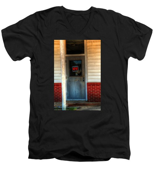 Keep Out Men's V-Neck T-Shirt by Ester  Rogers