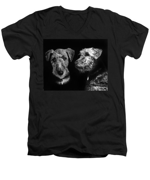 Men's V-Neck T-Shirt featuring the drawing Keeper The Welsh Terrier by Peter Piatt