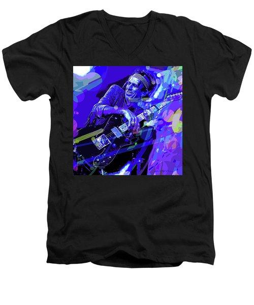 Keith Richards Blue Men's V-Neck T-Shirt