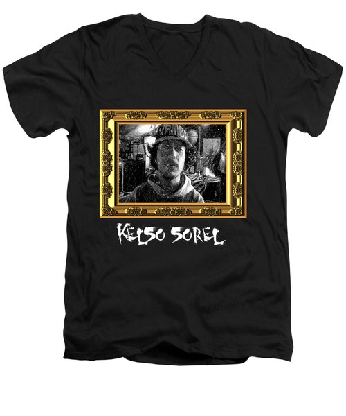 Men's V-Neck T-Shirt featuring the painting Kelso Sorel by Chief Hachibi