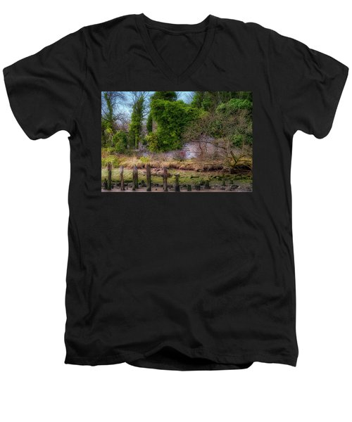 Men's V-Neck T-Shirt featuring the photograph Kennetpans Distillery Ruins by Jeremy Lavender Photography