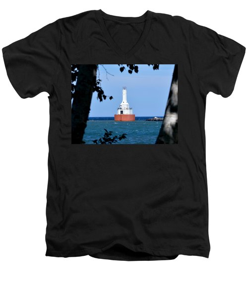 Keweenaw Waterway Lighthouse. Men's V-Neck T-Shirt by Keith Stokes