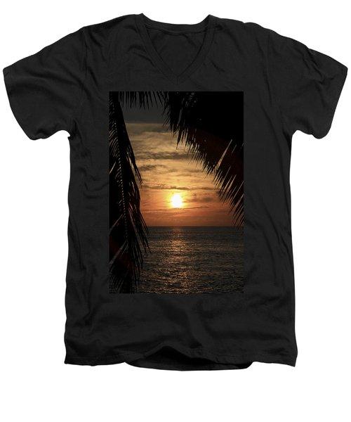 Key West Palm Sunset 2 Men's V-Neck T-Shirt
