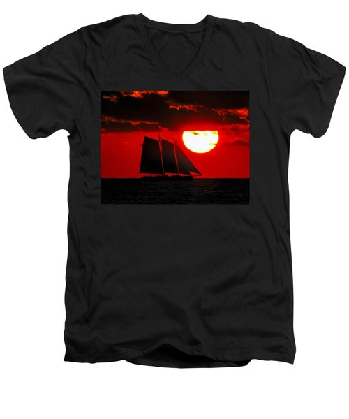 Key West Sunset Sail Silhouette Men's V-Neck T-Shirt