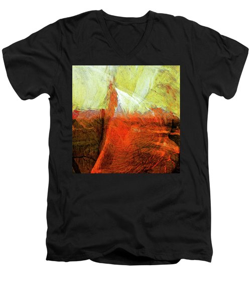 Men's V-Neck T-Shirt featuring the painting Kilauea by Dominic Piperata