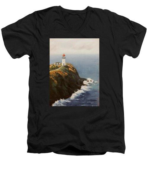Kilauea Lighthouse Men's V-Neck T-Shirt by Alan Mager