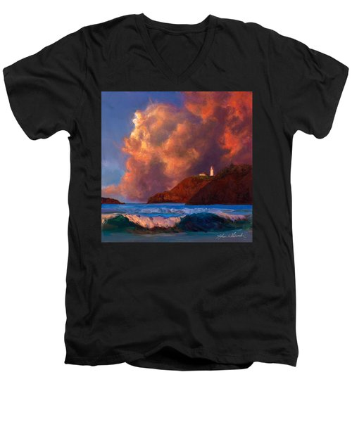 Kilauea Lighthouse - Hawaiian Cliffs Sunset Seascape And Clouds Men's V-Neck T-Shirt
