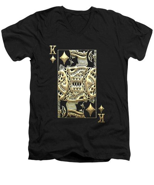 King Of Diamonds In Gold On Black  Men's V-Neck T-Shirt