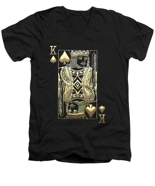 King Of Spades In Gold On Black   Men's V-Neck T-Shirt
