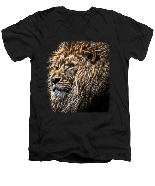 King Of The Jungle - Fractal Male Lion Men's V-Neck T-Shirt