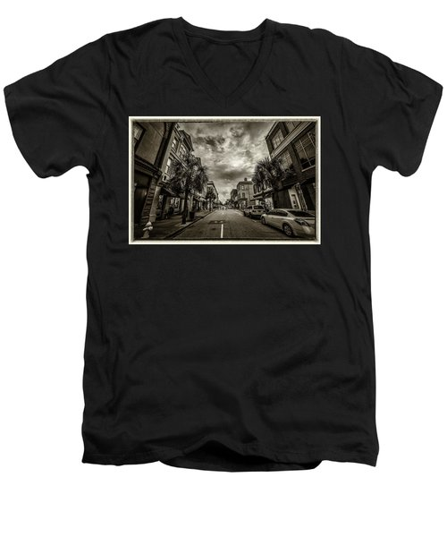Men's V-Neck T-Shirt featuring the photograph King St. Storm Clouds Charleston Sc by Donnie Whitaker