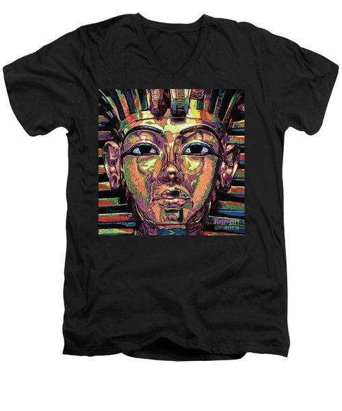 King Tutankhamun Death Mask Men's V-Neck T-Shirt by Maria Arango