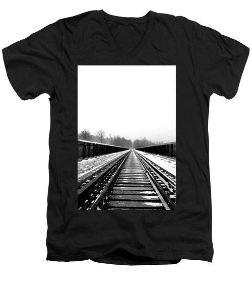 Men's V-Neck T-Shirt featuring the digital art Kinzua Bridge Skywalk by Sharon Batdorf