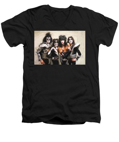 Kiss Band Men's V-Neck T-Shirt by Steven Parker