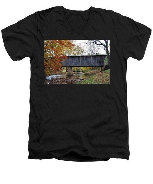 Kissing Bridge At Fall Men's V-Neck T-Shirt by Eric Liller