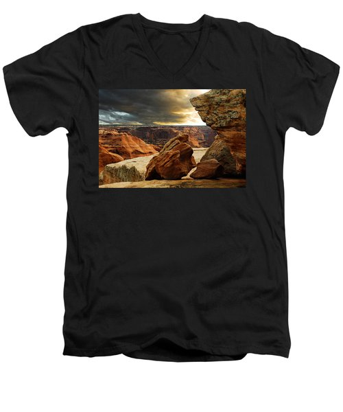 Men's V-Neck T-Shirt featuring the photograph Kissing Rocks by Harry Spitz