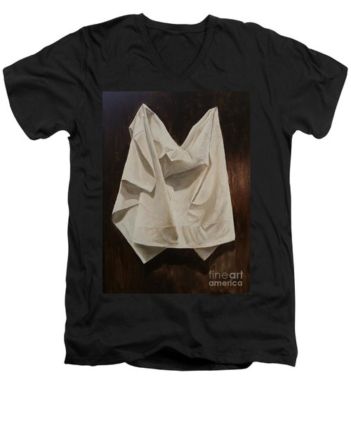 Men's V-Neck T-Shirt featuring the painting Painting Alla Rembrandt - Minimalist Still Life Study by Rosario Piazza