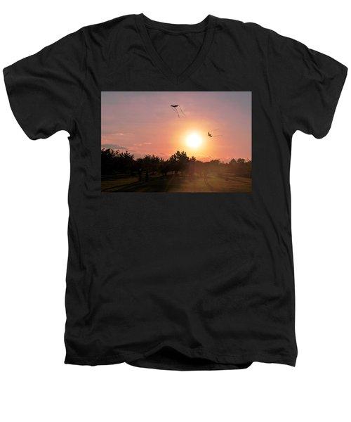 Kites Flying In Park Men's V-Neck T-Shirt by Matt Harang