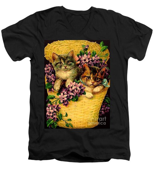 Kittens With Violets Victorian Print Men's V-Neck T-Shirt