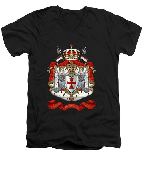 Knights Templar - Coat Of Arms Over Black Velvet Men's V-Neck T-Shirt by Serge Averbukh