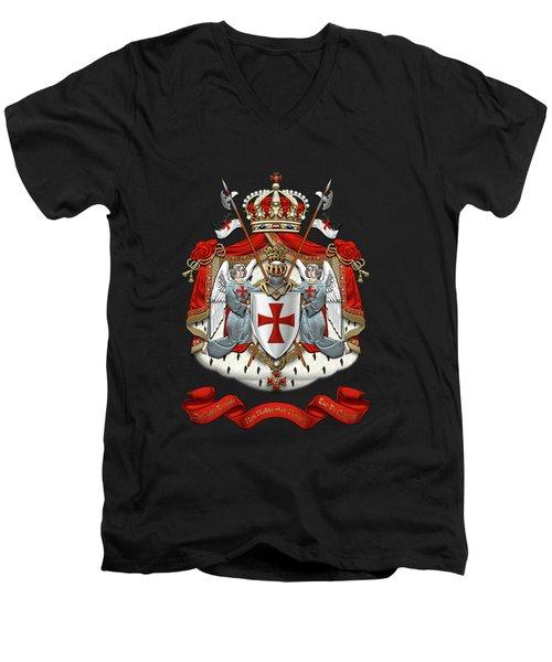 Knights Templar - Coat Of Arms Over Black Velvet Men's V-Neck T-Shirt