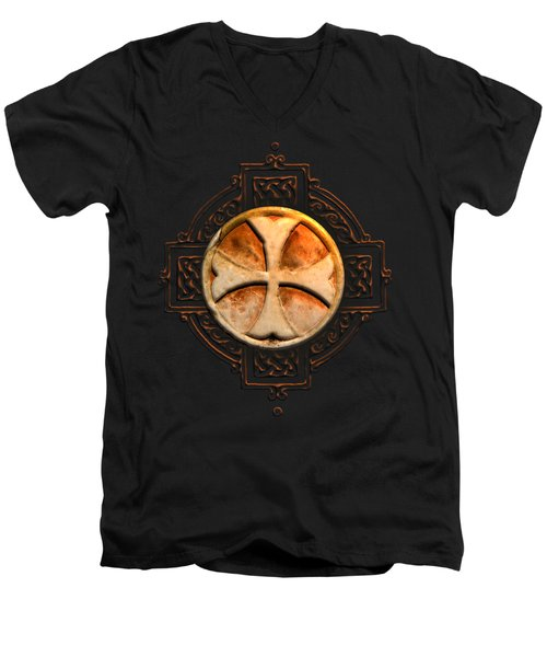 Knights Templar Symbol Re-imagined By Pierre Blanchard Men's V-Neck T-Shirt by Pierre Blanchard