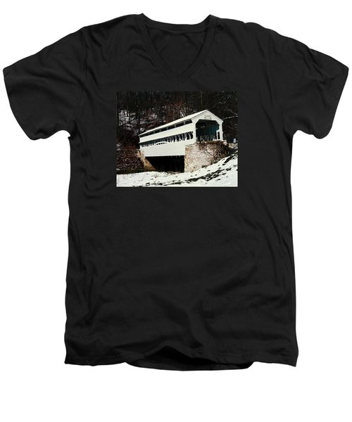 Knox Covered Bridge Historical Place Men's V-Neck T-Shirt by Sally Weigand