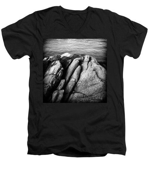 Men's V-Neck T-Shirt featuring the photograph Ko Samet Rocks In Black by Joseph Westrupp
