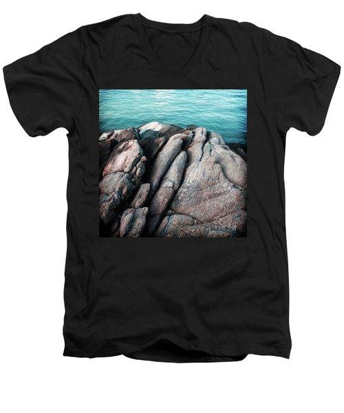 Men's V-Neck T-Shirt featuring the photograph Ko Samet Rocks by Joseph Westrupp