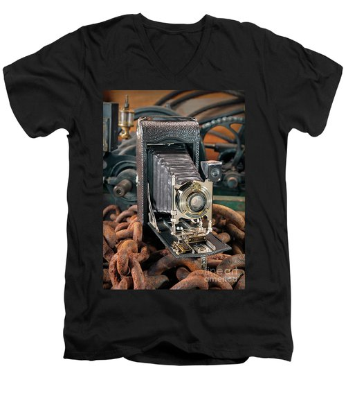 Men's V-Neck T-Shirt featuring the photograph Kodak No. 3a Autographic Camera by Martin Konopacki