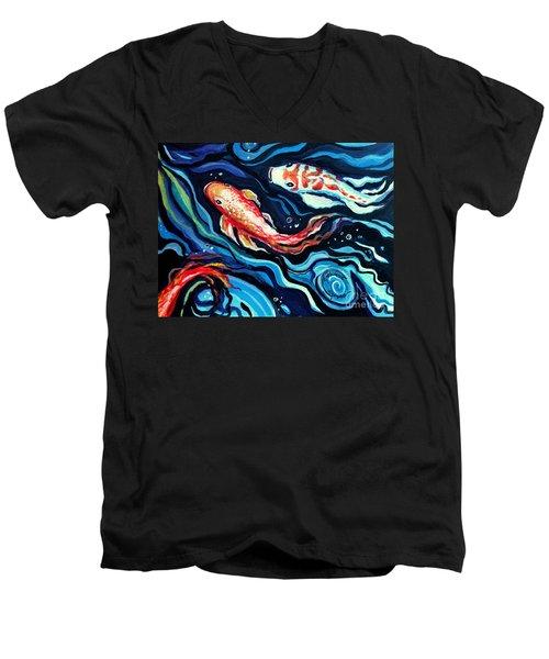 Koi Fish In Ribbons Of Water II Men's V-Neck T-Shirt